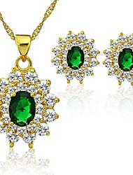 Gold Plated Green Crystal Fashion Wedding Jewerly Sets Gifts Lady Necklace and Earrings Jewelry Sets