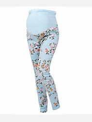 Alta elasticidad embarazadas las mujeres florales Tamaño Maternidad Algodón abdominal Legging del vientre pantalones Imprimir Capris Plus