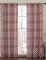 One Panel  Aaron Rust Printed Grommet Top 84 inch Curtain
