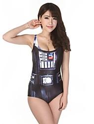 Femme O cou Star Wars Je suis ton père Imprimer tricoté One-Piece Swimsuit