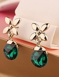 Exquisite Jewelry  Green/White Color Style Gold  Plated  Four-leaf  Clover Satellite  Stone  Earrings  for Women