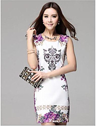 Women's Formal Sheath Dress,Floral Round Neck Mini Sleeveless Spring / Summer / Fall