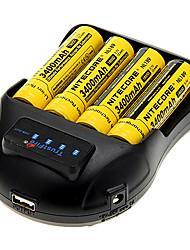 NITECORE NL189 3400mAh 18650 (4 piezas) + TrustFire TR-009 Cargador de batería para 14500/18650/16430 (para 4 baterías)