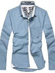 Homens Revers Formals manga comprida Hemp Pequeno Cogumelo Pure shirt