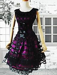 Burgundy Sleeveless Lace Deco Gothic Lolita Dress