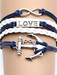 Okzident Vintage-Schmuck Liebe Woven PU-Leder-Armband