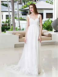 Lanting Bride® A-line Petite / Plus Sizes Wedding Dress - Classic & Timeless / Chic & Modern Court Train Straps Chiffon / Tulle with