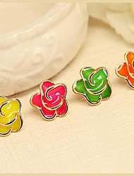 Fashion Jewelry  Gold Plated Candy Color Flowers Stud Earrings