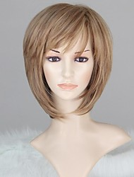 Women Capless Fashion Short Straight Mixed Blonde Synthetic Wig with Bang
