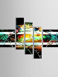 Hand Painted Oil Painting Abstract Painting with Stretched Frame Set of 5