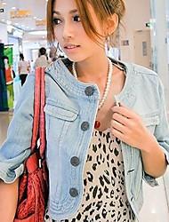 Rotondi delle donne collo Jeans Top Giacca di jeans cappotto