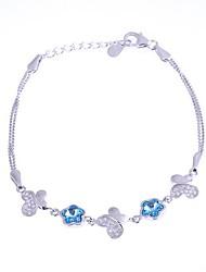 AS 925 Silver Jewelry   Blue Crystal Bracelet