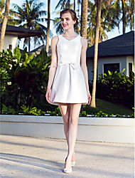 Lanting A-line Plus Sizes Wedding Dress - Ivory Short/Mini V-neck Nylon Taffeta