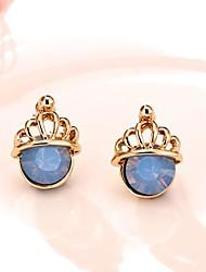 Jóias Exquisite rosa banhado a ouro com pedra azul rica em proteínas Crown Brincos para Mulheres