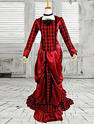 One-Piece/Dress Classic/Traditional Lolita Victorian Cosplay Lolita Dress Red Solid Long Sleeve Long Length Dress For Cotton