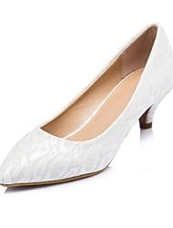 Mujer Zapatos de boda Tacones/Punta Redonda Tacones Boda Blanco/Oro
