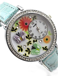 Women's Butterfly Pattern Diamond Case PU Band Quartz Analog Wrist Watch  (Assorted Colors)