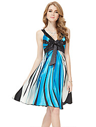 Ever-Bonito Formal bowknot Vestido das mulheres