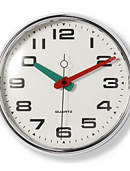 "10"" Silver Metal Frame Glass Dial Red and Green Pointer Wall Clock"