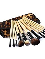 12 Pcs Professional Narutal Wooden Handle Make Up Brush Set Powder Brush  Case SV003655