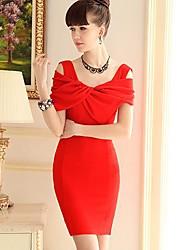 Femme Epaules Dénudées/Noeud OL manches courtes élégante minceur robe de poupée rose s