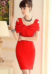 Rosa Puppe Frauen eleganter OL Kurzarm-Kleid Abnehmen
