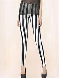 Spandex preto dos PinkQueen Mulheres e branco listrado Leggings