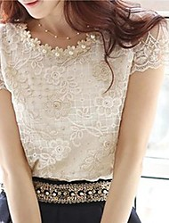 Women's Cute Beaded Neck Embroidered Lace and Mesh Top