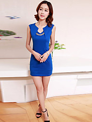 Vestido ajustado de la Mujer Hanli Corea Elegante Slim Fit Sin Mangas (azul)