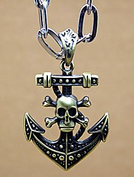 Men's Personality Skull Head Boat Anchor Leather Rope NeckLace