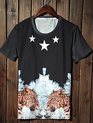 Men's 3D Printing Cotton Round Neck Short Sleeve T-shirt
