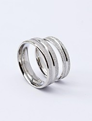Fashion Stripe Scrub Titanium Steel Couple Rings