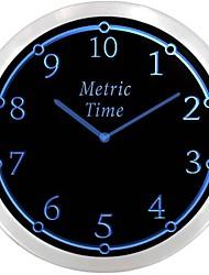 nc0910 métrique Temps enseigne au néon Horloge murale LED