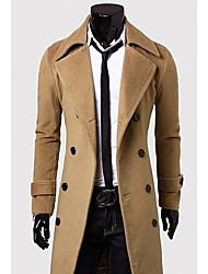 Men's Shirt Collar Coats & Jackets , Cotton / Cotton Blend Long Sleeve Casual Pocket Winter / Fall NEWJOGAL