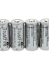 TrustFire 16340 880mAh bateria com proteção de sobrecarga (4 peças)