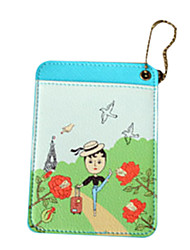 Cartooon Girl in the Wild PU Leather Card Case