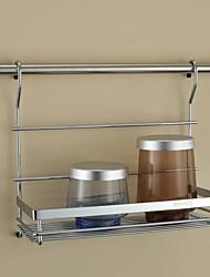 Cucina in acciaio inossidabile Mensola rack di stoccaggio singolo strato Aromi rack con 24Inch Hanging Rod e 5 ganci