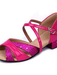 Shoes Show Girl's Leather Arch Strap Chunky Heel Exercise Dance Soft Sole Heel 3CM(Fuchsia)