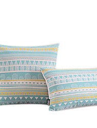 Conjunto de 2 Modern Light Blue Geometric algodão / Linen Decorrative fronha