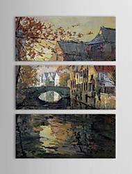Hand Painted Oil Painting Landscape   Stone Arch Bridge with Small Bridges Sketch  with Stretched Frame Set of 3