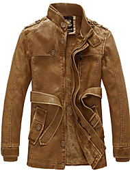 Man Wind Restoring Ancient Ways with Velvet Male Long Leather Jacket