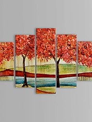 Hand Painted Oil Painting Landscape Two Big Trees with Stretched Frame Set of 5
