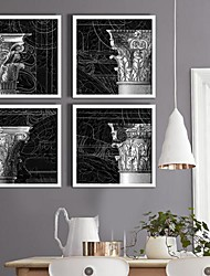 Noir et Blanc du bâtiment ornement série encadrée Toile Ensemble de 4