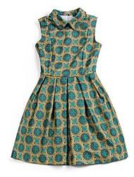 Women's   Lapel  Print  Sleeveless Summer Casual Dress