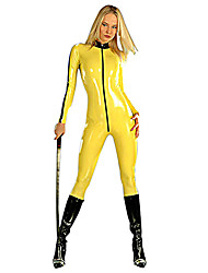 Japanese Samurai Yellow PU Leather Women's Halloween Costume