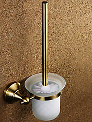 Antique Brass Wall-mounted Toilet Brush with Brush