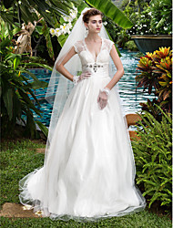 Vestido de Noiva - Marfim Trapézio/Princesa Em V Cauda Corte Tule