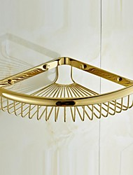 Gold-plating Brass Bathroom Multi-functional Basket Shelf Bathroom Accessories