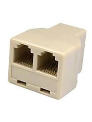 2 Way Outlet 6P6C RJ11 RJ12 Telephone Modular Jack Line Splitter Adapter Beige 1-in-2-out