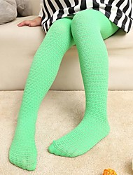 Girl's Pure Color X Decorative Pattern Jacquard Tights